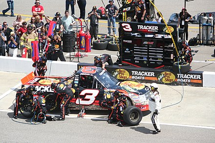 Ty Dillon, driving the No. 3 truck, shown here in 2012, finished second, 40 points behind Crafton Ty Dillon pitstop at Rockingham 2012.jpg