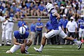 U.S. Air Force Academy (USAFA) senior kicker Parker Herrington and place holder junior David Baska combine for a field goal during the USAFA Falcons football game against the Idaho State Bengals at Falcon 120901-F-ZJ145-664.jpg