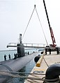 U.S. Sailors assigned to the attack submarine USS Cheyenne (SSN 773) and South Korean sailors secure a brow as the sub arrives in Busan, South Korea, March 20, 2013 130320-N-TB410-459.jpg