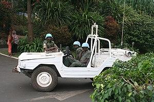 Ghana Armed Forces - Peacekeepers from Ghana Army (GA) in Kigali, Rwanda in Volkswagen Iltis
