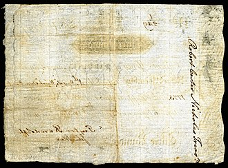 Robert Carter Nicholas Sr. - Image: US Colonial (VA 69) Virginia 4 Mar 1773 REV
