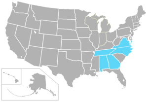 USA South Athletic Conference - Image: USA South USA states