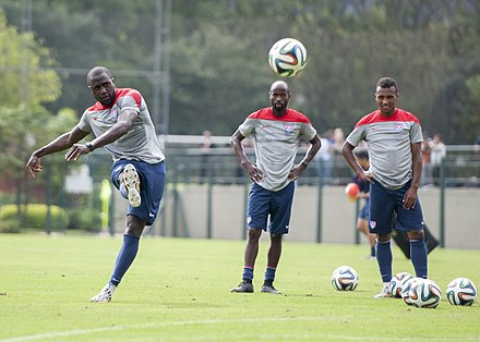 98717d2d9 Altidore (left) practices with DaMarcus Beasley and Julian Green during the  2014 FIFA World
