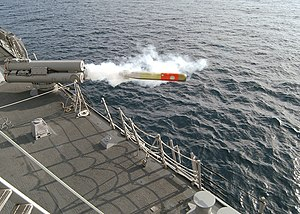 A Mark 32 Mod 15 Surface Vessel Torpedo Tube (SVTT) fires a Mark 46 Mod 5 lightweight torpedo.
