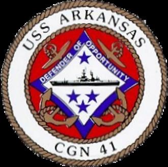 USS Arkansas (CGN-41) - Image: USS Arkansas (CGN 41) crest c 1980
