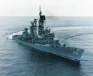 The USS Coontz underway in the Atlantic, off the Virginia coast, October 1986.