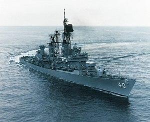 USS Coontz (DDG-40) underway in the Atlantic Ocean, in October 1986 (NH 97681-KN)