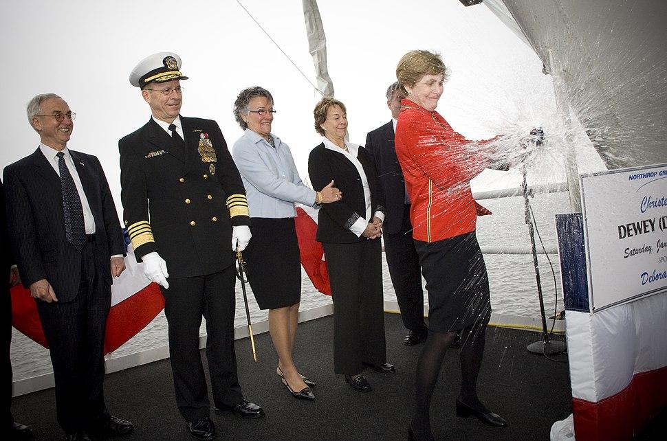 USS Dewey christening