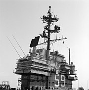 USS Forrestal (CV-59) island and masts
