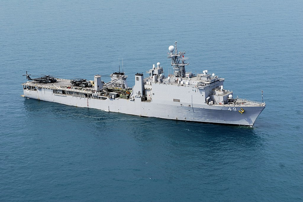 USS Harpers Ferry (LSD 49) at anchor in the Gulf of Thailand.
