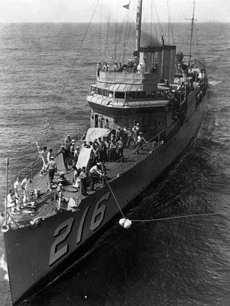 USS John D. Edwards (DD-216) - Laundry transfer with Saratoga off Cavite, in the 1930s.