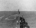 USS Oregon City (CA-122) tows USS Saipan (CVL-48) in the Caribbean Sea, in 1947.jpg