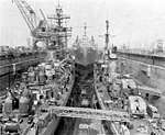 USS Prairie (AD-15) in dry dock with destroyers 1965.jpg