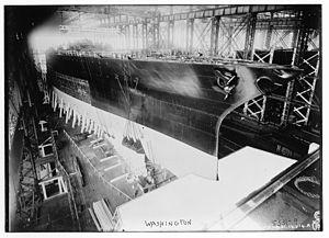 USS Washington (BB-47) - Image: USS Washington LOC ggbain 32936
