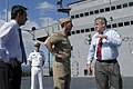 US Navy 050530-N-1194D-041 Vice Adm. Jonathan Greenert speaks with Cairns Mayor Kevin Byrne on the main deck aboard the amphibious command ship USS Blue Ridge (LCC 19).jpg