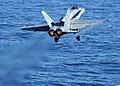 US Navy 060117-N-9898L-034 An F-A-18C Hornet launches from the flight deck aboard the Nimitz-class aircraft carrier USS Abraham Lincoln (CVN-72).jpg