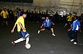 US Navy 070326-N-1328S-001 Crew members from the Engineering and Air Departments aboard the amphibious assault ship USS Boxer (LHD 4) compete in the championship indoor soccer match during the ship's 2007 Captain's Cup.jpg