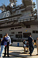 US Navy 071218-N-2959L-190 Trudy LaField gives a goodbye hug to USS Ronald Reagan (CVN 76) medical personnel after arriving in San Diego.jpg