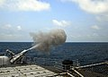 US Navy 080727-N-4236E-232 A 5-inch MK-45 Mod 2 light weight gun fires during a live fire exercise aboard the guided-missile cruiser USS Vella Gulf (CG 72).jpg