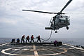 US Navy 100122-N-6044L-003 Sailors assigned to the guided-missile frigate USS McClusky (FFG 41) conduct helicopter in-flight refueling training.jpg