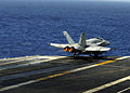 US Navy 101207-N-2937R-103 An F-A-18C Hornet assigned to the Vigilantes of Strike Fighter Squadron (VFA) 151 launches from the aircraft carrier USS.jpg