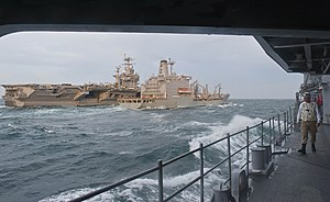 US Navy 120213-N-VY256-024 The Military Sealift Command fleet replenishment oiler USNS Patuxent (T-AO 201) transfers fuel to the Nimitz-class aircr.jpg