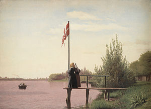 Danish art - Christen Købke, View of Lake Sortedam, 1838. The Danish flag is frequently seen in paintings of this period.