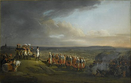 Napoleon and the Grande Armee receive the surrender of Austrian General Mack after the Battle of Ulm in October 1805. The decisive finale of the Ulm Campaign raised the tally of captured Austrian soldiers to 60,000. With the Austrian army destroyed, Vienna would fall to the French in November. Ulm capitulation.jpg