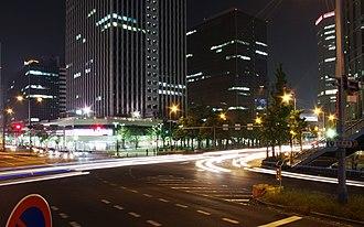 Umeda - The Ekimae office towers along Midosuji Blvd. and Umeda Shinmichi