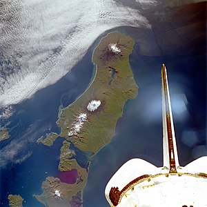 Unimak Island - Unimak Island from space, September 1992 (viewed from Shuttle ''Endeavour'' on STS-47)
