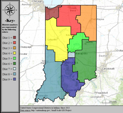 United States Congressional Districts in Indiana, since 2013.tif