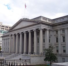 The U.S. Treasury building designed by Ammi Burnham Young
