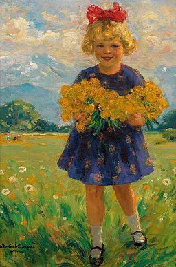 Völcker Kleines Mädchen mit Dotterblumen