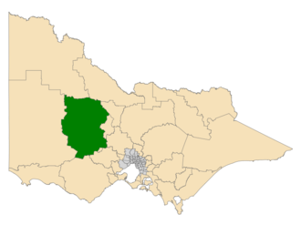 Electoral district of Ripon - Location of Ripon (dark green) in Victoria