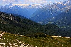 Val Rendena - View on Val Rendena from Passo del Grosté, in background Adamello-Presanella