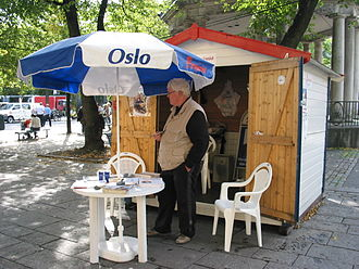 Pensioners' Party (Norway) - Campaign booth ahead of the 2009 election.