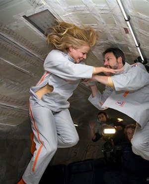 2suit - Vanna Bonta testing the 2suit in microgravity during a parabolic flight on September 13, 2008 (History Channel, The Universe)