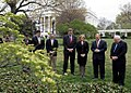 Vice President Dick Cheney stands with Oklahoma City Mayor Mick Cornett during a moment of silence on the South Lawn.jpg