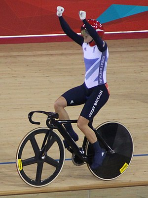 Victoria Pendleton - Pendleton celebrates winning the keirin at the 2012 Summer Olympics in London.