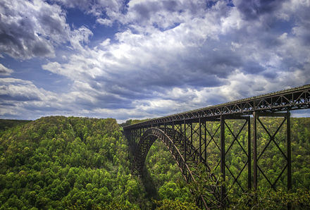 View of the iconic New River Gorge Bridge from the overlook at the north end of the New River Gorge (facing southwards), near Fayetteville View of New River Gorge Bridge.jpg