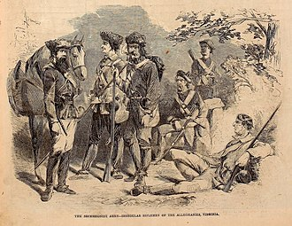 "West Virginia in the American Civil War - ""The Secessionist Army-Irregular Riflemen of the Alleghanies, Virginia"", Harper's Weekly, July 20, 1861"