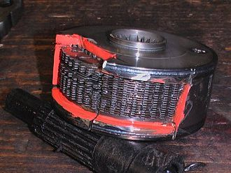 Viscous coupling unit - An example of a viscous coupling unit opened up