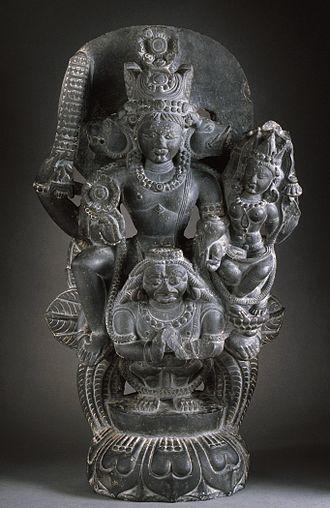 Vaikuntha Chaturmurti - Lakshmi-Vaikuntha riding his vehicle (vahana) Garuda, 11th century Kashmir