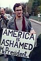 Visit by U.S. President Ronald Reagan to Bitburg military cemetery 1985, protester with transparent -0005.jpg