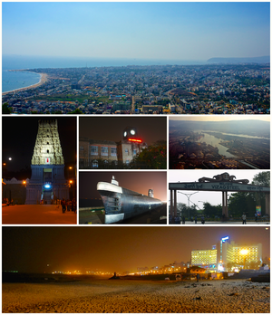 Top to bottom, left to right: A view of Visakhapatnam and the Bay of Bengal from Kailasagiri Park, Simhachalam Temple, King George Hospital, Visakhapatnam Port, the Kursura Submarine Museum, the Visakhapatnam Steel Plant, and Ramakrishna Mission Beach