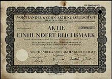 7a5bc31bb88 Aktie über 100 RM der Voigtländer   Sohn AG vom September 1925