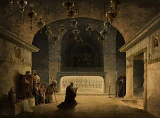 Interior of the Church of the Nativity in Bethlehem.