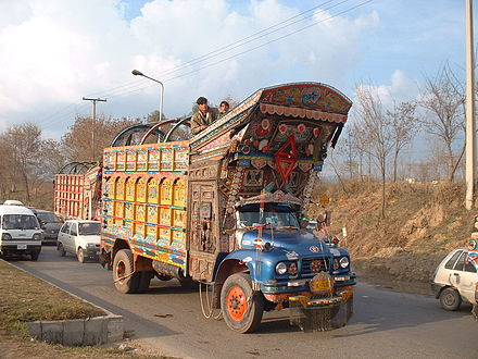 Truck art is a distinctive feature of Pakistani culture. W-P-AD20070217-16h21m13s-e.jpg
