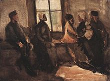 A very brown study of a group of people sitting in a room on a bench in front of a window. It is pretty dark.