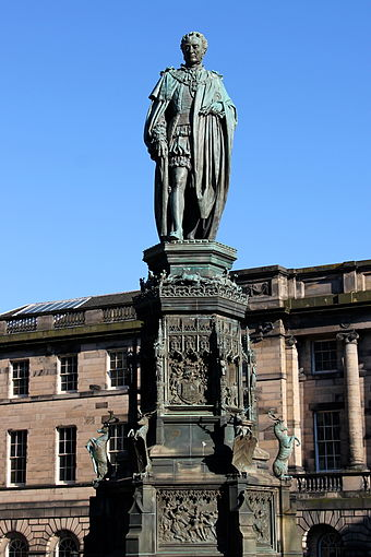 Statue of Walter Francis Montagu Douglas Scott, 5th Duke of Buccleuch, 7th Duke of Queensberry on the Parliament Square in Edinburgh Walter Montagu Douglas Scott Royal Mile Edinburgh.jpg